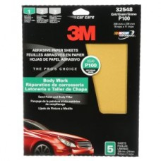 3M™ Fre-Cut™ Production Resinite Gold Sheets, 32548, P100, 9 in x 11 in (22.86 cm x 27.94 cm), 5 per pack