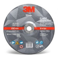 3M™ Silver Depressed Centre Grinding Wheel, 87452, T27, 9 in x 1/4 in x 7/8 in, cost per wheel