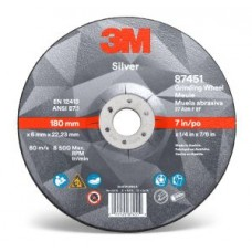 3M™ Silver Depressed Centre Grinding Wheel, 87451, T27, 7 in x 1/4 in x 7/8 in, cost per wheel