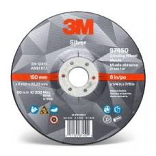 3M™ Silver Depressed Centre Grinding Wheel, 87450, T27, 6 in x 1/4 in x 7/8 in, cost per wheel