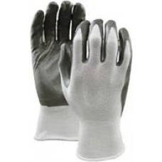 Grey Nitrile Dipped Cotton gloves, #389, green code, size Medium, 12 pairs/box,  cost per pair
