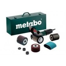 Metabo Burnisher SE12-115 Kit, 1200W/10A, 900-2,800rpm, 5/8-11 spindle. 602115620 Kit includes 80grit belts, 80grit flap, 180grit combiflap, 280grit Non-woven, Expansion roll and spacer set., cost each