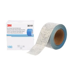 3M™ Hookit™ Blue Abrasive Sheet Roll, 321U, 36191, 180, 2-3/4 in x 13 yd (69.85 mm x 11.88 m)