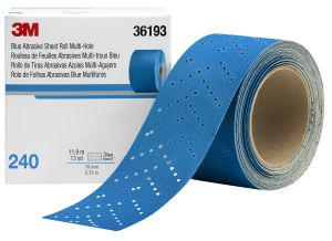 3M™ Hookit™ Blue Abrasive Sheet Roll, 321U, 36193, 240, 2-3/4 in x 13 yd (69.85 mm x 11.88 m)