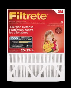 Filtrete™ Allergen Defense Micro Allergen Deep Pleat  Filter, MPR 1000, 20 in x 25 in x 4 in