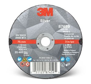 3M™ Silver Cut-Off Wheel, 87459, T1, 3 in x 0.060 in x 3/8 in, cost per wheel, 50 per box