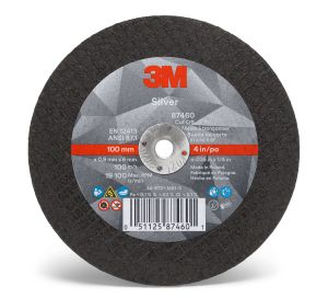 3M™ Silver Cut-Off Wheel, 87460, T1, 4 in x 0.035 in x 1/4 in, cost per wheel