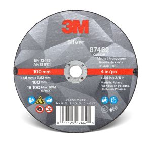 3M™ Silver Cut-Off Wheel, 87462, T1, 4 in x 0.060 in x 3/8 in, cost per wheel