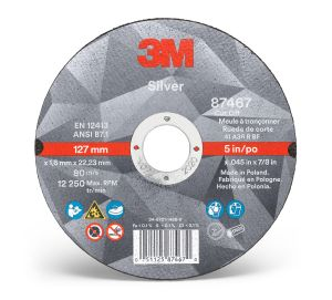 3M™ Silver Cut-Off Wheel, 87467, T1, 5 in x 0.045 in x 7/8 in, cost per wheel, 20 wheels per case